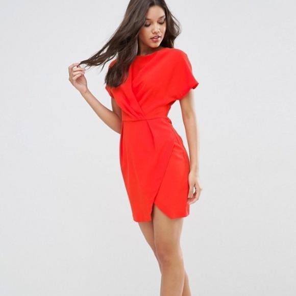 053a41074a ASOS Dresses   Skirts - ASOS kimono mini wrap dress red orange